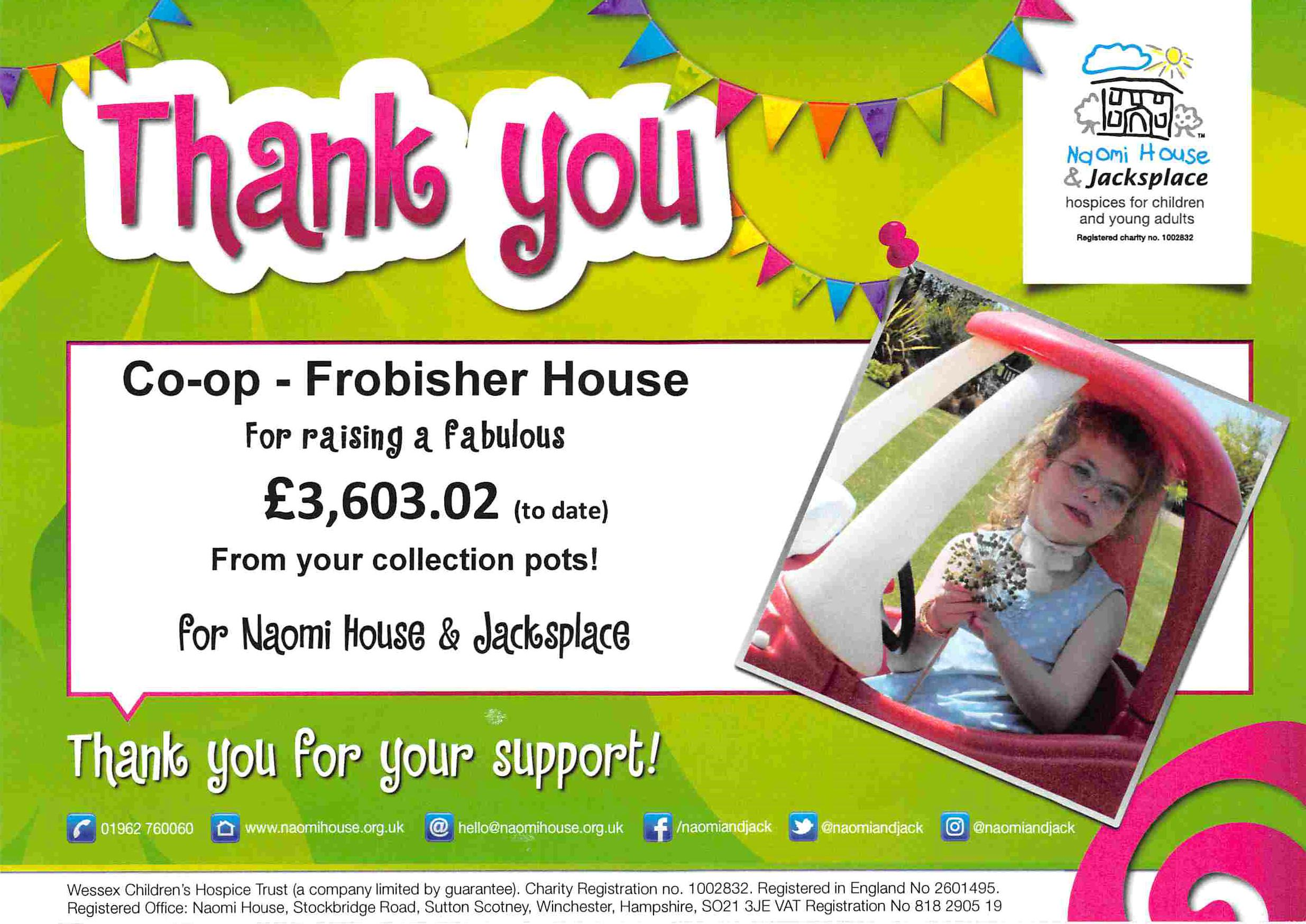 Frobisher House Raises 360302 For Naomi House So Far Welcome