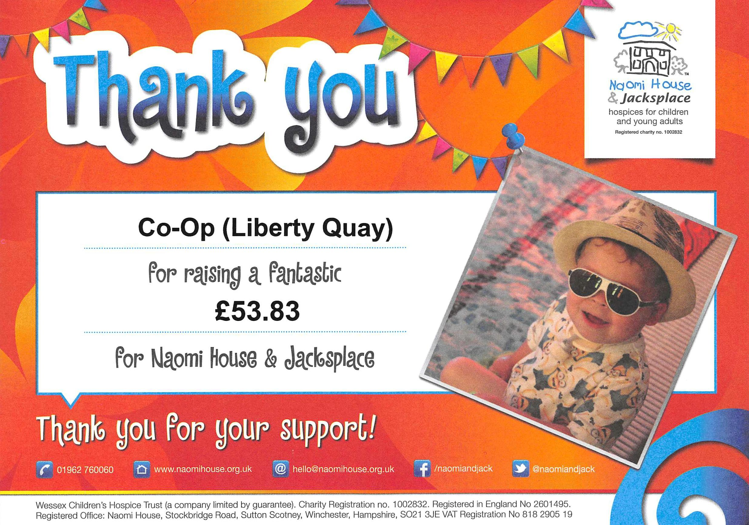 Liberty Quays Raises 5383 For Naomi House Welcome